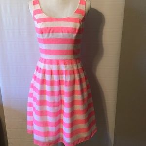 LILLY PULITZER Pink White Neon Striped Dress Sz 4
